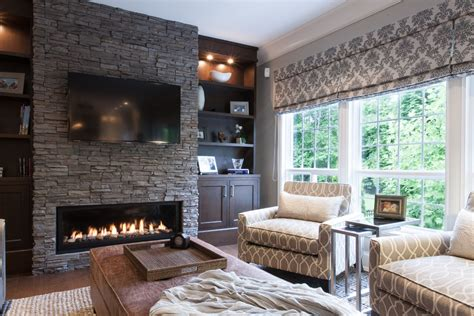 stacked fireplace ideas family room traditional with