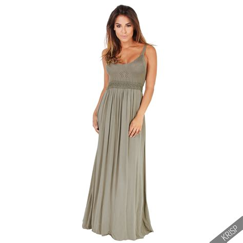 Soft Cotton For womens boho crochet front soft cotton pleated maxi