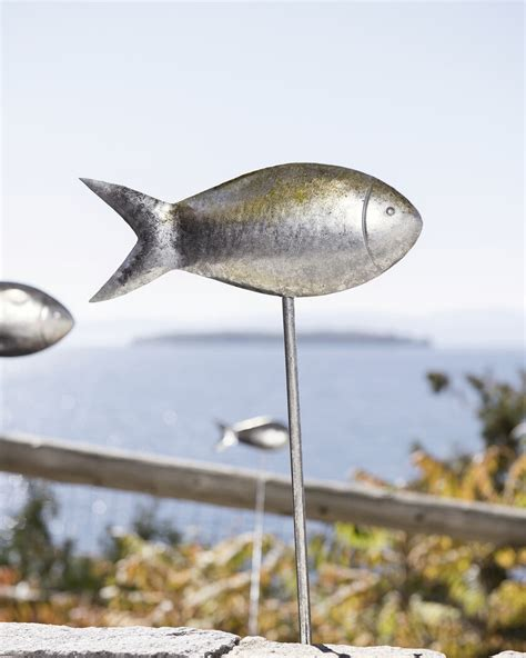fish   water garden stakes set   metal fish yard art