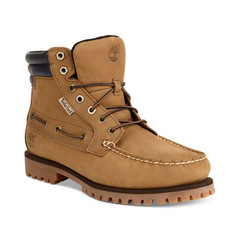 timberland oakwell 7 eye moc toe boots in brown for