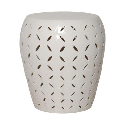 emissary 12784wt large lattice garden stool white