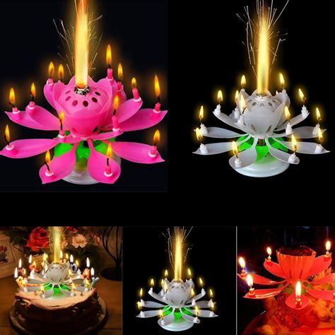 rotating musical lotus flower happy birthday candle lights birthday candles beautiful musical lotus flower happy birthday gift rotating lights