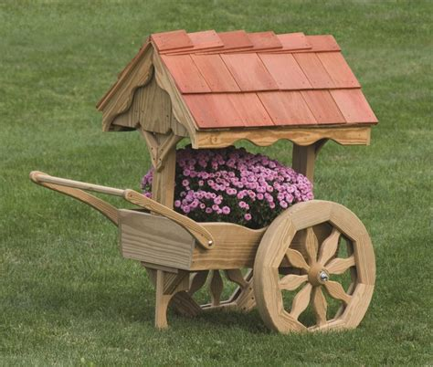 Free Upholstery Samples Amish Wooden Rustic Garden Cart Planter Made In America