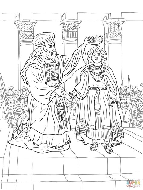 coloring pages of king josiah king joash crowned coloring page supercoloring com