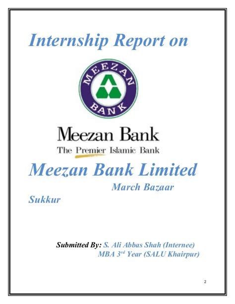 Allied Bank Letterhead Internship Report On Meezan Bank Ltd Actual 2014