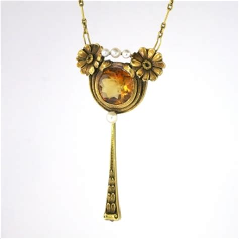 Yellow Citrine 1 95ct antique nouveau 1900 s 1 95ct citrine pearl floral