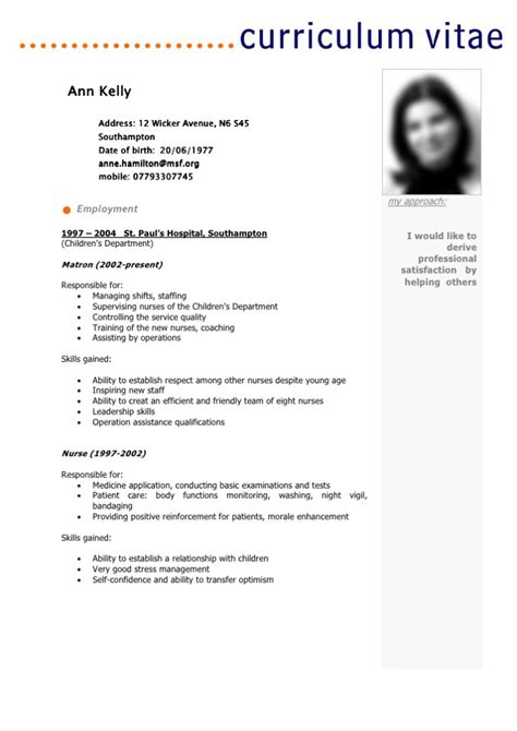 Cv Francais Simple by Model Cv Simple En Fran 195 167 Ais