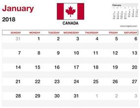 January 2018 Canadian Calendar 2018 Calendar Canada 2018 Calendar Printable
