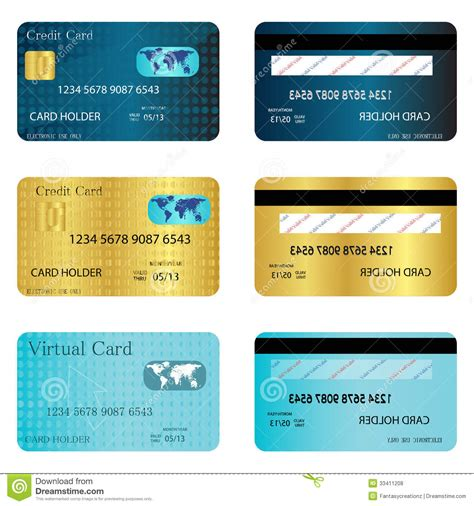 Credit Card Template Front And Back Credit Cart Royalty Free Stock Photos Image 33411208