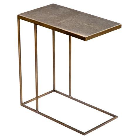 hinge industrial loft faux shagreen brass side table