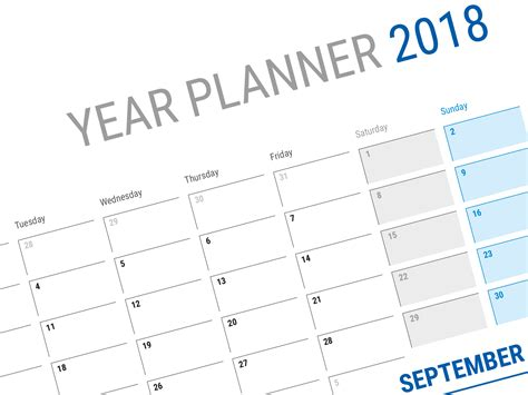 Galerry printable table planner 2018