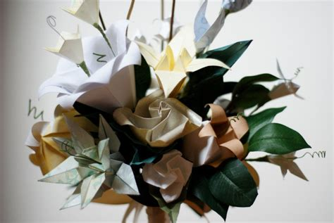 Origami For Weddings - pin origami flower bouquet on