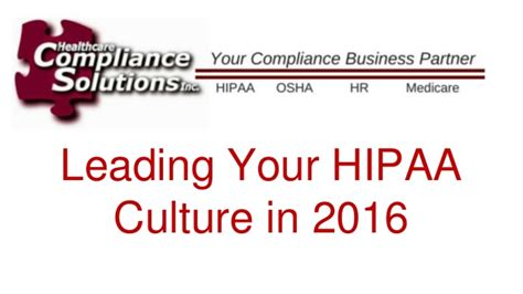 Mba Health Care Compliance Concordia Linkedin by Leading Your Hipaa Compliance Culture In 2016