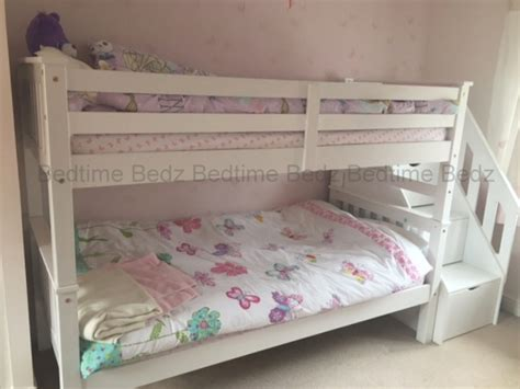 Bunk Bed With Stairs Uk Staircase Bunk Bed White Waxed Built In Storage Steps Bedtime Bedz