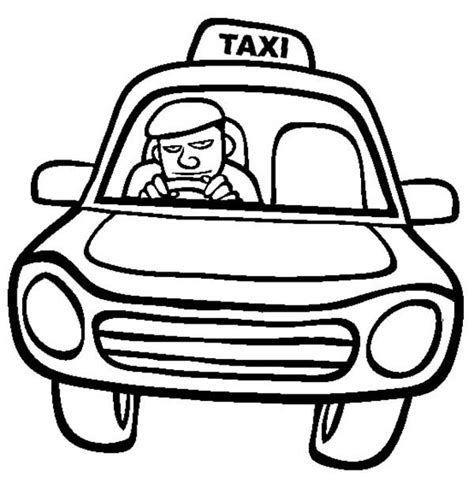 taxi car coloring page coloring driving clipart best