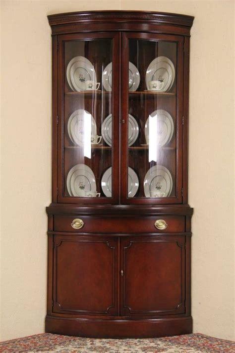 Antique Dining Room Corner Cabinets Drexel Travis Court Mahogany 1950 S Vintage Curved Glass