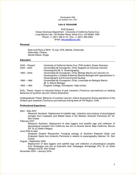 Sample Resume For Biology Major – Examples Of Resumes : Sample Resume Personal Information