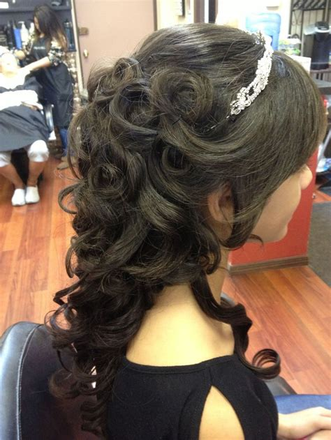 quinceaneras hairstyles curls beautiful partial updo with tiara flowing curls in back