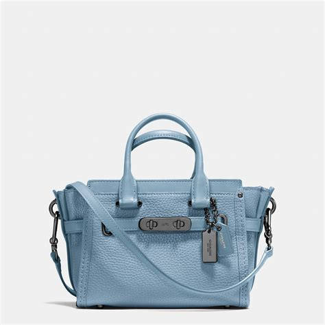 Coach Swagger In Metallic Pebble Leather 2016 lyst coach swagger 20 in pebble leather in metallic