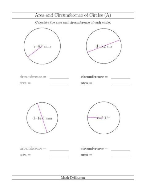 circumference of a circle worksheets calculate