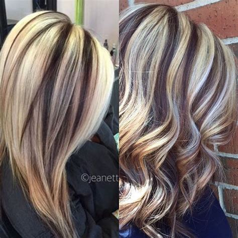 chunky red blonde and brown highlight pictures long brown hair with bold chunky blond highlights dark