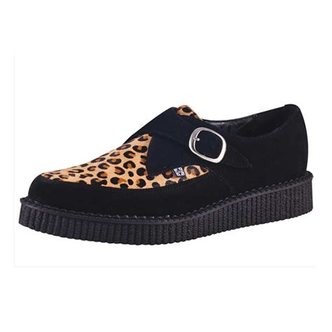 t u k leopard print pointed brothel creeper