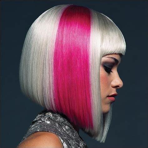 blonde bob pink a pink streak hair colors ideas