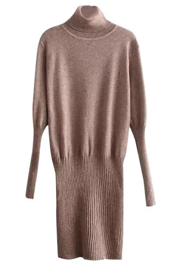 Plain Turtleneck Knit Dress womens slim plain sleeve turtleneck knit sweater