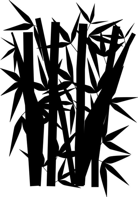 vector graphic bamboo jungle black silhouette