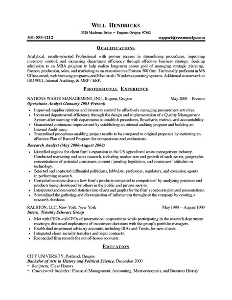Business School Admissions Resume