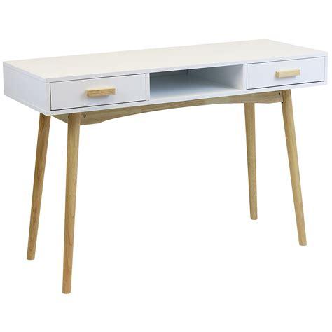 Retro Writing Desk by Hartleys White Scandinavian Retro Home Office Work Pc