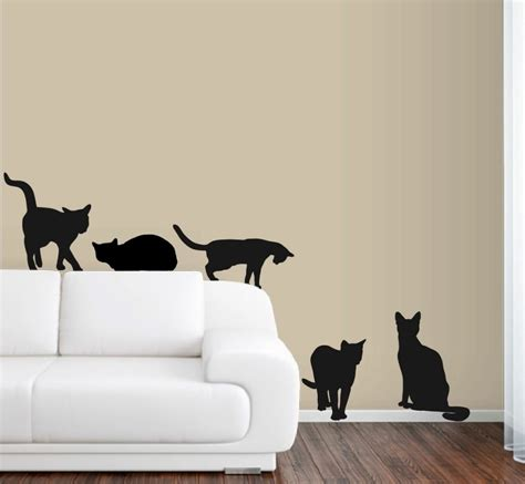 Sticker Wallpaper Dinding Sleeping Cat 6 cats wall decals in size deco sticker mural color black diy removable wallpaper 40