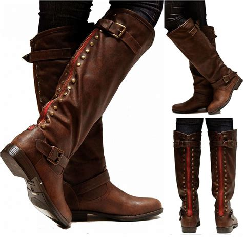 new womens jm18 brown zipper studded knee high