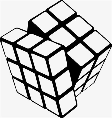 printable rubik s stickers rubik s cube cartoon cube black and white cube toy png