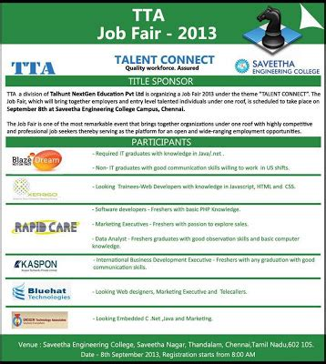 Government For Mba Freshers In Chennai by Saveetha Engineering College Freshers Tta Fair In