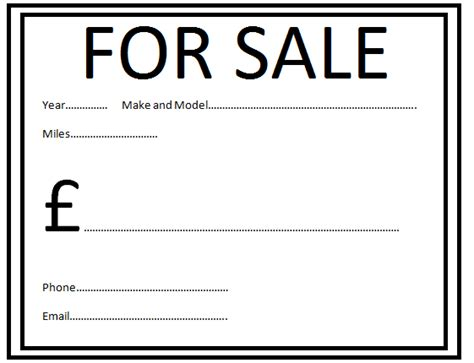 car for sale sign template clipart best