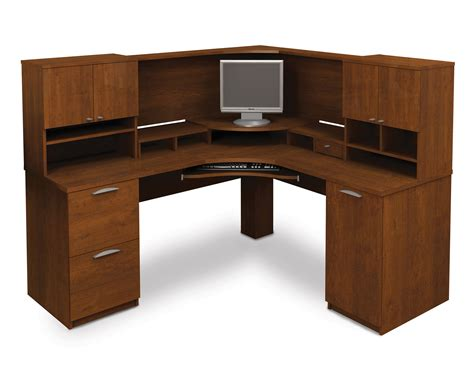 corner desk with hutch and drawers computer desk blueprints 25 bestar elite tuscany brown