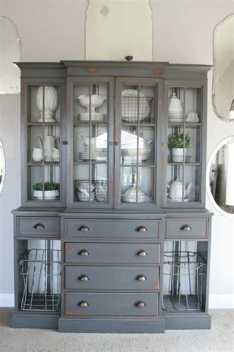 Grey Dining Room Hutch Grand Design Grain Sack Stripe Inspired Hutch