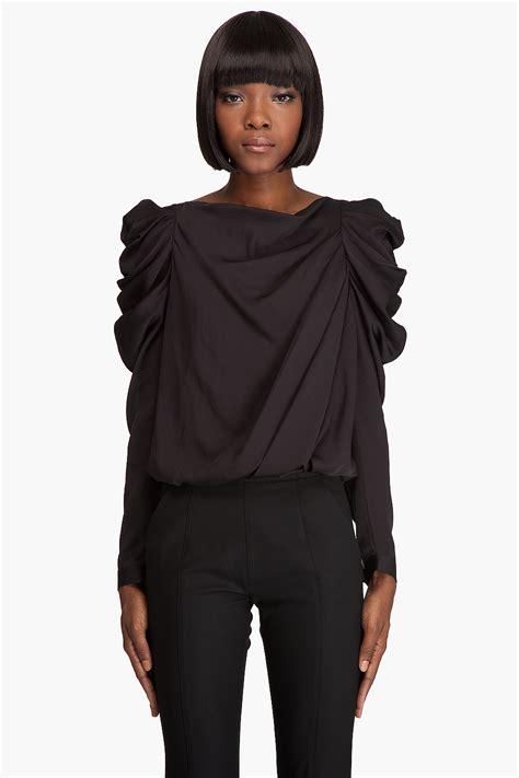 draped in viktor rolf draped sleeve blouse in black lyst