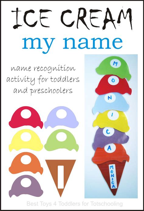 printable name art ice cream name recognition with free printable