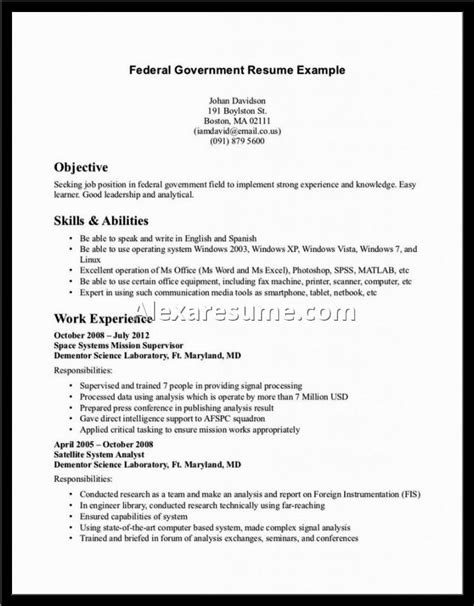 federal resume writing tips interesting federal resume exle