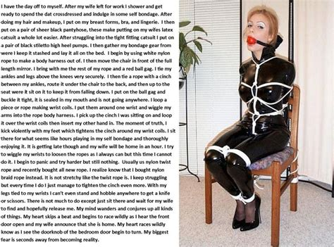 selfbondage bed crossdressed in wifes clothes and stuck in self bondage
