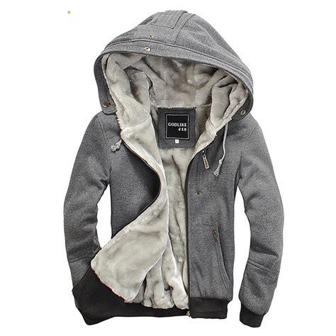 mens fur lined hoodie cotton hooded warm jackets hoodies