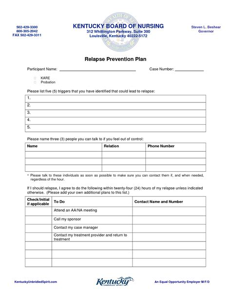 Relapse Prevention Plan Worksheet Worksheets For All Download And Share Worksheets Free On Relapse Prevention Plan Template Pdf