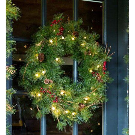 lighted outdoor battery operated wreath w auto timer walmart