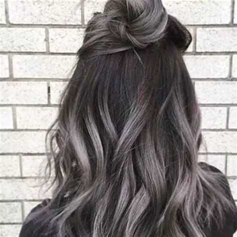 brown hair with grey highlights grey highlights on brown hair hairs picture gallery