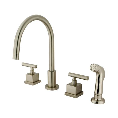 kitchen faucet flow rate shop elements of design satin nickel 2 handle high arc kitchen faucet at lowes com