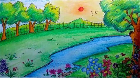 draw  scenery  garden  oil pastels landscape