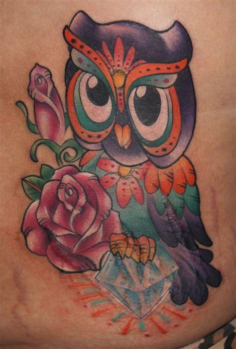 tattoo owl cartoon bling owl owl diamond girlie tattoo pretty tattoo