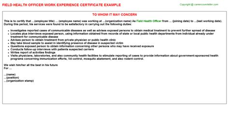 Health Officer Field Work Experience Certificates Field Officer Template